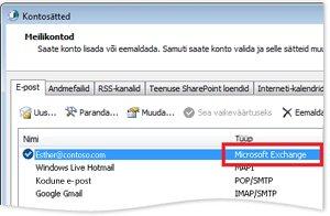 Näide: Exchange'i konto dialoogiboksis Kontosätted