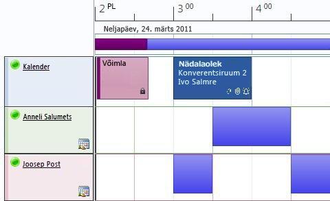 Kalendri ajakavavaade