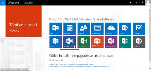 Valige Office Online'i rakendus