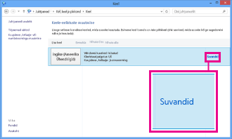 Sisestusmeetodi lisamine juhtpaneeli kaudu opsüsteemis Windows 8
