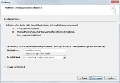 Dialoogiboks Uue konto lisamine näitab, et kontot ei saanud konfigureerida