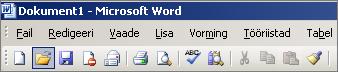 Word 2003 põhimenüü