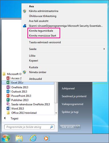 Pin Office app to Start menu or taskbar in Windows 7