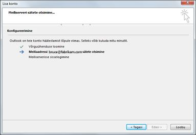 Dialoogiboks Uue konto lisamine näitab, et meiliserveri sätteid konfigureeritakse