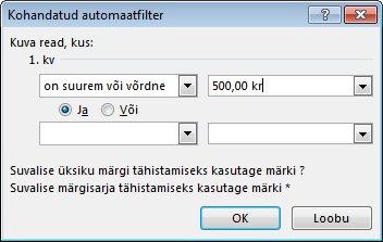 Dialoogiboks Kohandatud automaatfilter