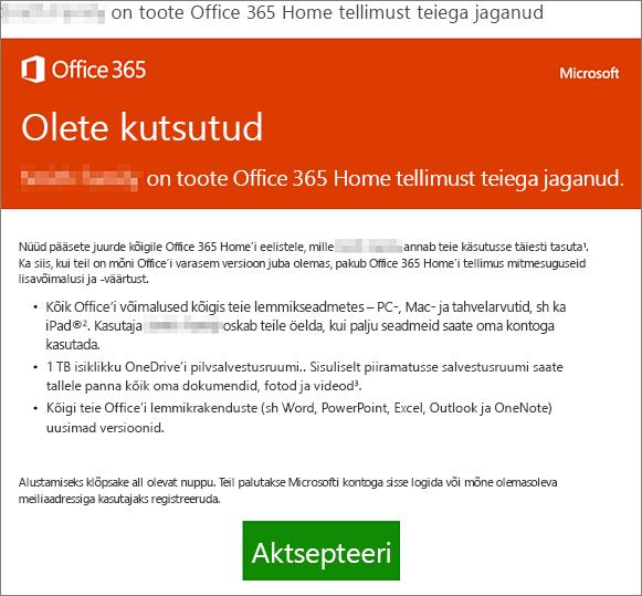 Meilisõnum teatega, et keegi on jaganud teiega Office 365 Home'i tellimust