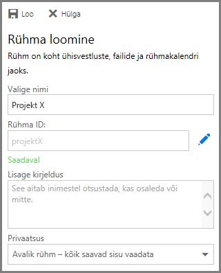 Kuvatõmmis nime tippimisest ja nupu Loo klõpsamisest, et OneDrive for Businessi kaudu rühm luua