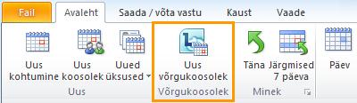 Uue võrgukoosoleku nupp Outlooki kalendris