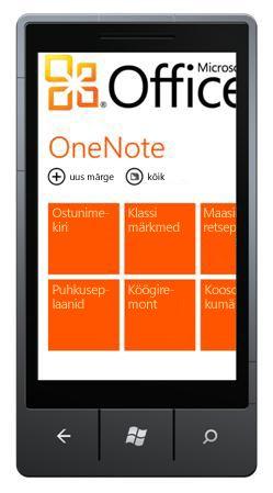 OneNote Mobile 2010 keskus