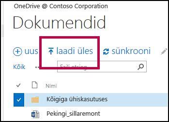 OneDrive'i kiirpääsuriba nupp Laadi üles