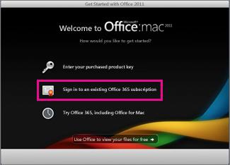 Office for Maci installimise avaleht, kus saate sisse logida olemasolevasse Office 365 tellimusse.
