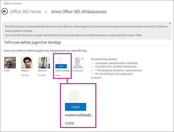 Teenusekomplekti Office 365 jagamise leht, kus on nähtaval kasutaja, kellega tellimust jagatakse
