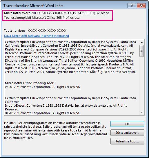 Aken Teave rakenduse Microsoft Word kohta