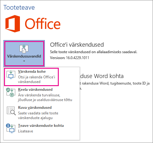 Office'i värskenduste käsitsi kontrollimine rakenduses Word 2016