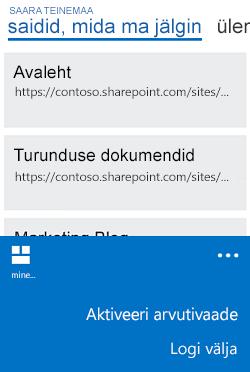 Mobiilivaate asemel arvutivaate aktiveerimise menüü Windows Phone'is