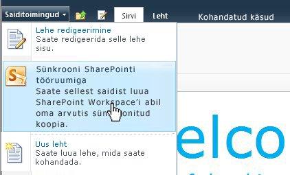 SharePointi saidi arvutiga sünkroonimiseks valige see suvand