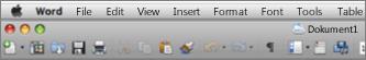 Rakenduse Word for Mac 2011 põhikasutajaliides