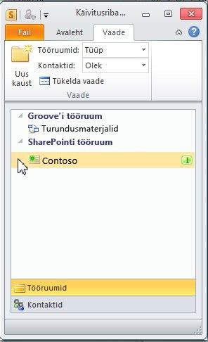 SharePointi tööruum käivitusribal