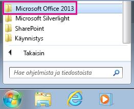 Office 2013 -ryhmä Windows 7:n Kaikki ohjelmat -kohdassa