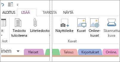Kuvien lisääminen OneNoteen.