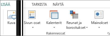 Näyttökuva Publisherin Lisää-välilehden Rakenneosat-ryhmästä.
