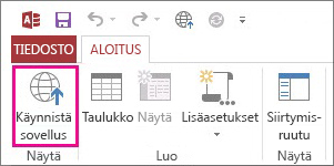 Aloitus-välilehden Käynnistä sovellus -painike.