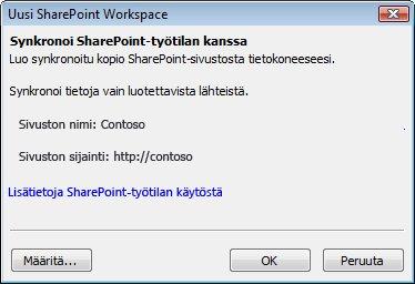 Synkronoi tietokoneeseen -valintaikkuna