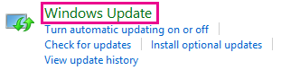 Windows 8:n Windows Update -linkki Ohjauspaneelissa