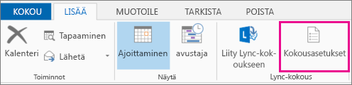 Outlook 2013:n Kokouksen asetukset -painike