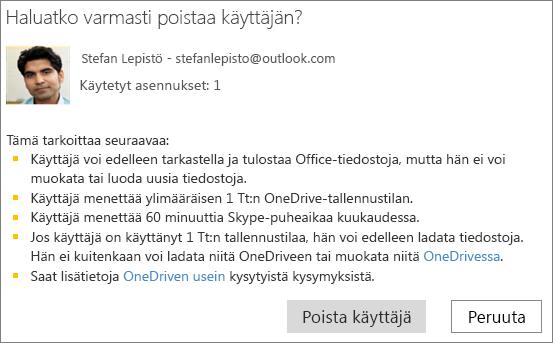 Näyttökuva vahvistusvalintaikkunasta, kun poistat käyttäjän Office 365 Home -tilauksesta.