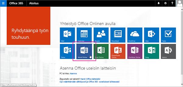 Office Online -sovelluksen valitseminen
