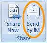 Lähetä avattu Office-tiedosto Lync 2010 -pikaviestin liitteenä