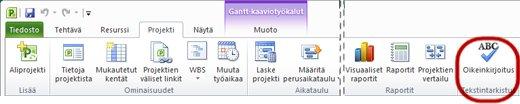 Projectin valintanauhan Oikeinkirjoitus-painike