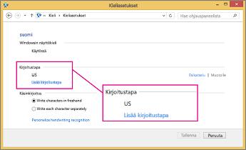 Office 2016 Windows 8, kirjoitustavan lisääminen