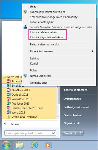 Office-sovelluksen kiinnittäminen Aloitus-valikkoon tai tehtäväpalkkiin Windows 7:ssä