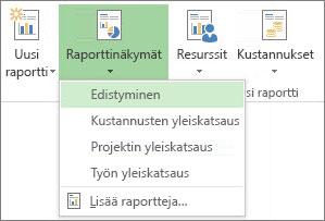 Raportti-välilehden Raporttinäkymät-valikko