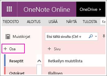 Näyttökuva uuden osan luomisesta OneNote Onlinessa.