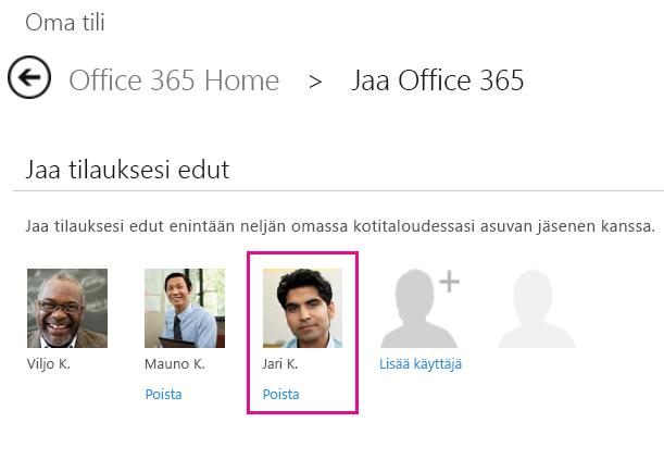 """Näyttökuva Share Office 365 -sivusta, jossa on valittuna """"Poista käyttäjä"""" -vaihtoehto."""