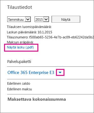 """Lataa lasku PDF-tiedostona valitsemalla """"Näytä lasku (.pdf)""""."""