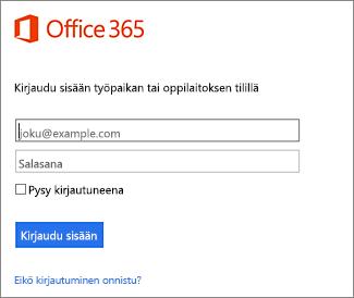 Sisäänkirjautumissivu: portal.office.com