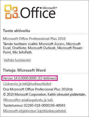 Office-versionumero