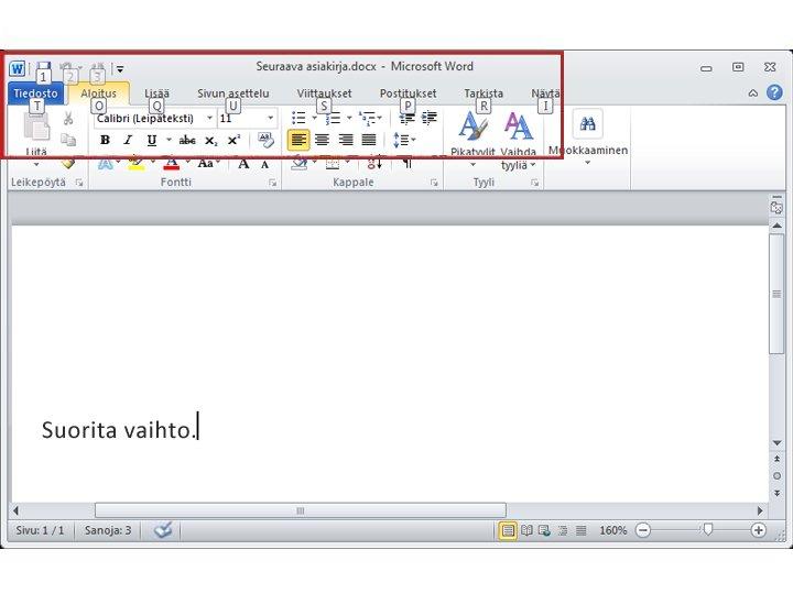Word 2010:n Aloitus-välilehti, jossa näkyvät näppäinvihjeet