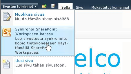 Jos haluat synkronoida SharePoint-sivuston tietokoneeseesi, valitse tämä asetus.