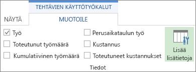 Tehtävien käyttö - Työkalut - Muotoile -välilehden Lisää tietoja -painike