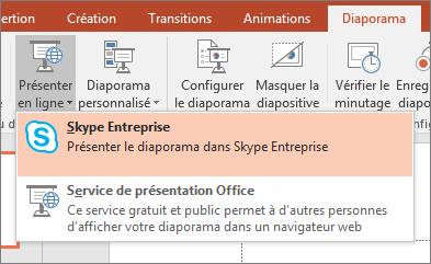 Affichage des options permettant de présenter en ligne dans PowerPoint