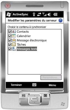 Activer la case à cocher Messages texte dans Windows Mobile6.5