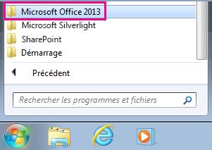 Groupe Office2013 sous Tous les programmes dans Windows7