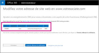 Ajoutez ces enregistrements DNS pour modifier l'adresse de votre site web
