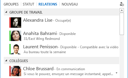 Capture d'écran du tri des contacts par relation
