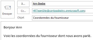 Message électronique avec la boîte aux lettres de site dans le champ Cc.